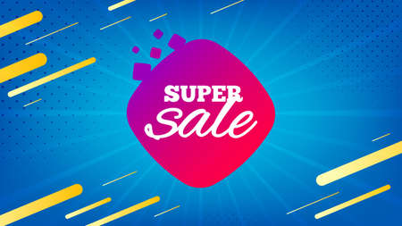 Super sale badge. Discount banner shape. Coupon bubble icon. Abstract background. Modern concept design. Banner with offer badge. Vector