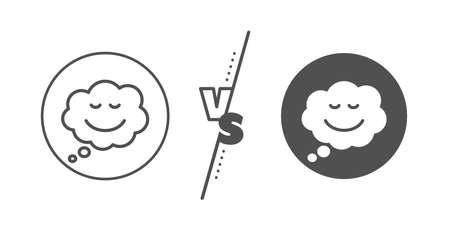 Chat emotion sign. Versus concept. Comic speech bubble with Smile line icon. Line vs classic speech bubble icon. Vector Ilustração