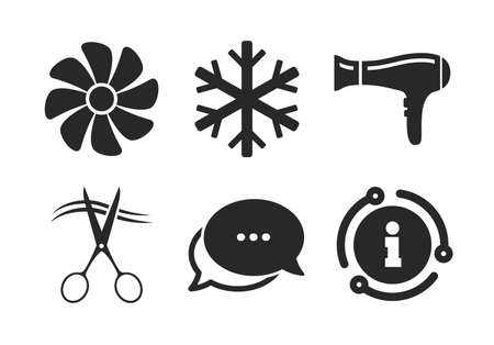 Air conditioning, Hairdryer and Ventilation in room signs. Chat, info sign. Hotel services icons. Climate control. Hairdresser or barbershop symbol. Classic style speech bubble icon. Vector