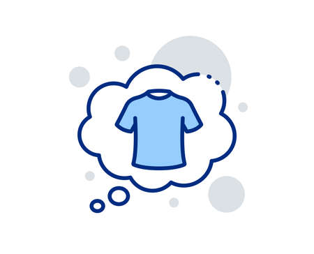 T-shirt line icon. Laundry shirt sign. Clothing speech bubble symbol. Linear design sign. Colorful t-shirt icon. Vector