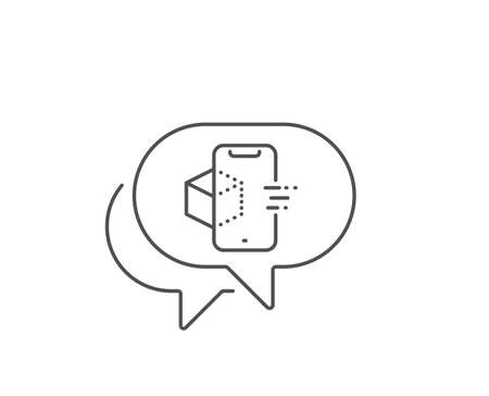 Augmented reality phone line icon. Chat bubble design. VR simulation sign. 3d cube symbol. Outline concept. Thin line augmented reality icon. Vector