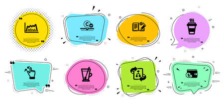 Engineering documentation, Collagen skin and Tea mug line icons set. Chat bubbles with quotes. Takeaway, Touchscreen gesture and Buying accessory signs. Vector Çizim