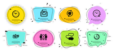 Talk bubble, Mail correspondence and Education idea line icons set. Chat bubbles with quotes. 24 hours, Partnership and Time signs. Time management, Continuing education symbols. Vector