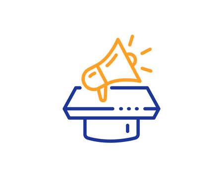 Advertisement device symbol. Megaphone line icon. Brand ambassador loudspeaker sign. Colorful outline concept. Blue and orange thin line megaphone icon. Vector Illustration