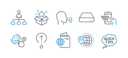 Set of Business icons, such as World travel, Human sing, Loyalty program, Travel passport, Swipe up, Management, Customer satisfaction, Mini pc, Education, Quick tips line icons. Vector Stock Illustratie