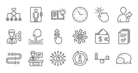 Artificial intelligence, Balance and Refer friend line icons. Timeline path, Cash wallet. Linear icon set. Quality line set. Vector