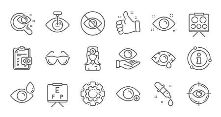 Optometry, Eye doctor line icons. Medical laser surgery, glasses and eyedropper. Pink eye, Cataract surgery and allergy icons. Optician board, oculist chart. Linear set. Quality line set. Vector Ilustrace