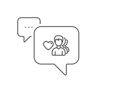 Couple Love line icon. Chat bubble design. Group of Men sign. Valentines day symbol. Outline concept. Thin line man love icon. Vector