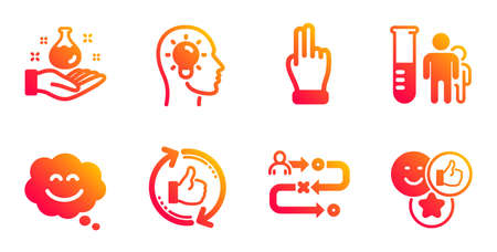 Click hand, Refresh like and Smile chat line icons set. Journey path, Idea head and Medical analyzes signs. Chemistry lab, Like symbols. Direction finger, Thumbs up counter. People set. Vector