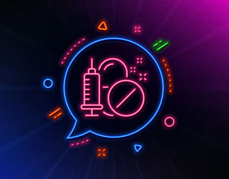 Medical drugs line icon. Neon laser lights. Medicine syringe sign. Pharmacy medication symbol. Glow laser speech bubble. Neon lights chat bubble. Banner badge with medical drugs icon. Vector