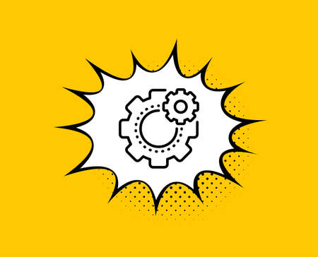Cogwheel line icon. Comic speech bubble. Engineering tool sign. Cog gear symbol. Yellow background with chat bubble. Cogwheel icon. Colorful banner. Vector Illusztráció