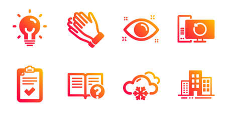 Health eye, Snow weather and Checklist line icons set. Recovery computer, Energy and Help signs. Clapping hands, Buildings symbols. Optometry, Snowflake. Business set. Vector  イラスト・ベクター素材
