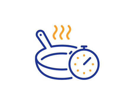 Cooking timer sign. Frying pan line icon. Food preparation symbol. Colorful outline concept. Blue and orange thin line frying pan icon. Vector
