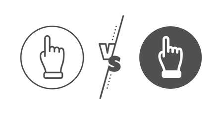 One finger palm sign. Versus concept. Click hand line icon. Direction gesture symbol. Line vs classic click hand icon. Vector Banque d'images - 130608765