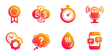 Microphone, Reward and Time management line icons set. Bitcoin exchange, Timer and Hot water signs. Question mark, Phone messages symbols. Mic, Best medal. Business set. Vector