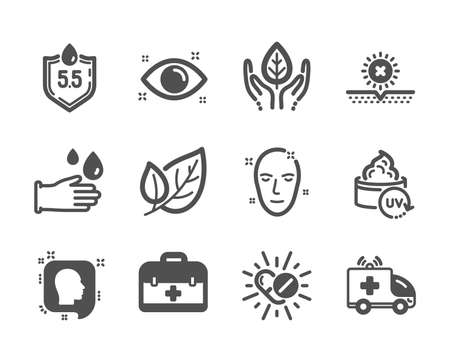 Set of Healthcare icons, such as Medical drugs, First aid, Health eye, No sun, Health skin, Rubber gloves, Ph neutral, Ambulance car, Fair trade, Uv protection, Head, Leaf classic icons. Vector