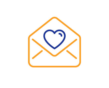 Heart mail sign. Love letter line icon. Valentine day symbol. Colorful outline concept. Blue and orange thin line love letter icon. Vector
