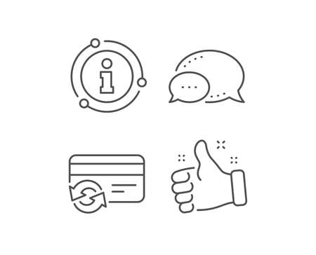 Change credit card line icon. Chat bubble, info sign elements. Payment method sign. Linear change card outline icon. Information bubble. Vector