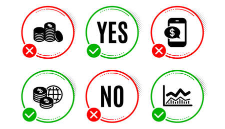 Banking money, Phone payment and World money icons simple set. Yes no check box. Trade infochart sign. Cash finance, Mobile pay, Global markets. Business analysis. Finance set. Vector