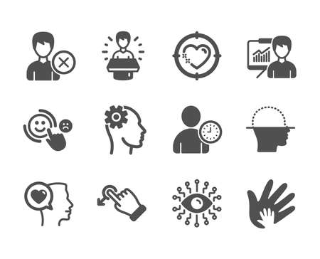 Set of People icons, such as Engineering, Romantic talk, Social responsibility, Artificial intelligence, Brand ambassador, Customer satisfaction, Remove account, Heart target, Drag drop. Vector Illustration