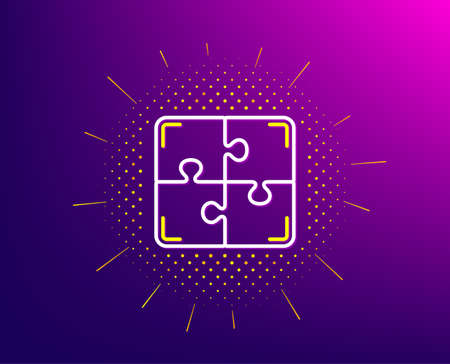 Puzzle line icon. Halftone pattern. Engineering strategy sign. Gradient background. Puzzle line icon. Yellow halftone pattern. Vector