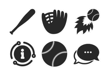Ball with glove and bat signs. Chat, info sign. Baseball sport icons. Fireball symbol. Classic style speech bubble icon. Vector