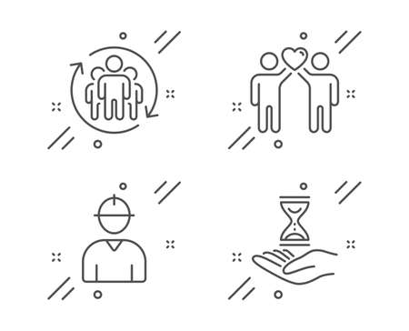 Friends couple, Engineer and Teamwork line icons set. Time hourglass sign. Friendship, Worker profile, Employees change. Sand watch. People set. Line friends couple outline icon. Vector 向量圖像