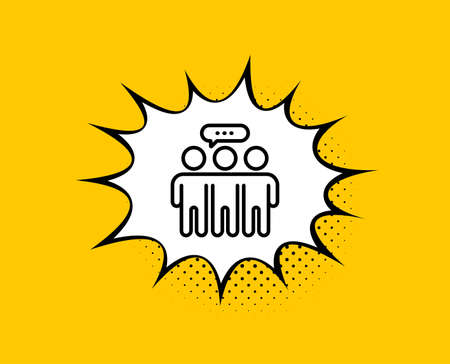 Employees group line icon. Comic speech bubble. Collaboration sign. Development partners symbol. Yellow background with chat bubble. Employees group icon. Colorful banner. Vector