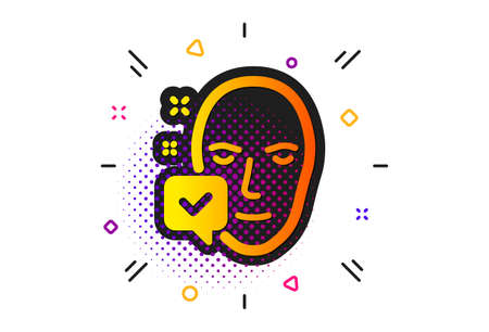 Access granted sign. Halftone circles pattern. Face accepted icon. Facial identification success symbol. Classic flat face accepted icon. Vector Ilustrace