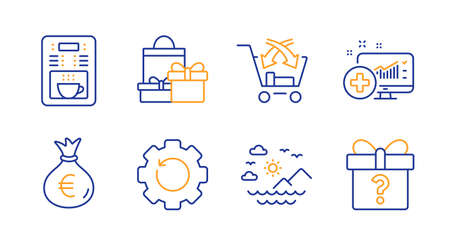 Recovery gear, Money bag and Medical analytics line icons set. Shopping, Coffee maker and Sea mountains signs. Cross sell, Secret gift symbols. Backup info, Euro currency. Business set. Vector Illusztráció