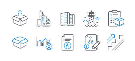 Set of Industrial icons, such as Operational excellence, Lighthouse, Technical info, Parcel checklist, Send box, Buildings, Skyscraper buildings, Algorithm, Opened box, Stairs line icons. Vector