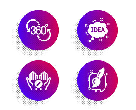 Medical tablet, 360 degree and Idea icons simple set. Halftone dots button. Painting brush sign. Medicine pill, Virtual reality, Creative message. Graphic art. Business set. Vector Illustration