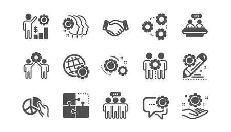 Employees benefits icons. Business strategy, handshake and people collaboration. Teamwork, social responsibility, people relationship icons. Classic set. Quality set. Vector