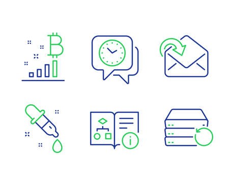 Bitcoin graph, Chemistry pipette and Clock line icons set. Technical algorithm, Receive mail and Recovery server signs. Cryptocurrency analytics, Laboratory, Time. Project doc. Education set. Vector
