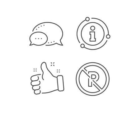 No parking line icon. Chat bubble, info sign elements. Car park not allowed sign. Transport garage symbol. Linear no parking outline icon. Information bubble. Vector Illustration