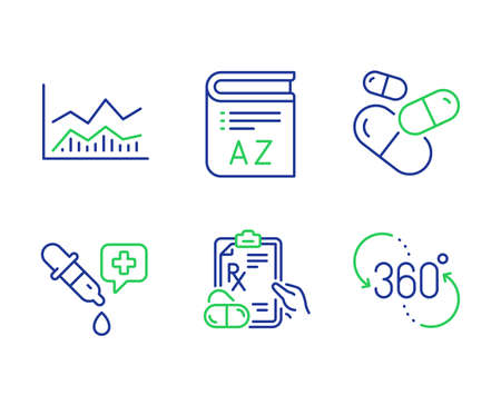 Trade infochart, Prescription drugs and Vocabulary line icons set. Chemistry pipette, Capsule pill and 360 degree signs. Business analysis, Pills, Book. Laboratory. Science set. Vector Stockfoto - 130622562