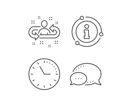 Recruitment line icon. Chat bubble, info sign elements. Business management sign. Employee or human resources symbol. Linear recruitment outline icon. Information bubble. Vector Illustration