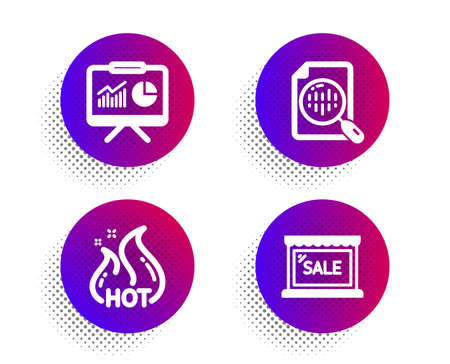 Hot sale, Analytics chart and Presentation icons simple set. Halftone dots button. Sale sign. Shopping flame, Report analysis, Board with charts. Shopping store. Finance set. Vector
