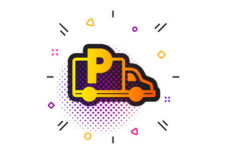 Car park sign. Halftone circles pattern. Truck parking icon. Transport place symbol. Classic flat truck parking icon. Vector