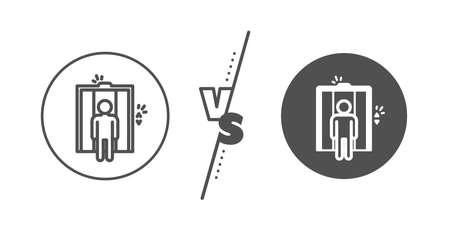 Elevator sign. Versus concept. Lift line icon. Transportation between floors symbol. Line vs classic elevator icon. Vector Foto de archivo - 130622573