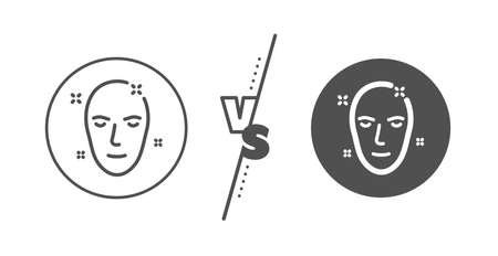 Face care sign. Versus concept. Health skin line icon. Cosmetic lotion symbol. Line vs classic health skin icon. Vector 向量圖像