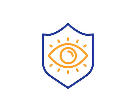 Oculist clinic sign. Eye protection line icon. Optometry vision symbol. Colorful outline concept. Blue and orange thin line eye protection icon. Vector