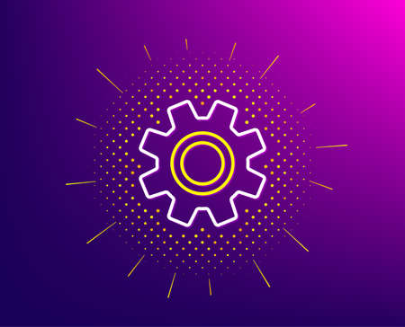 Cogwheel line icon. Halftone pattern. Service sign. Transmission Rotation Mechanism symbol. Gradient background. Service line icon. Yellow halftone pattern. Vector