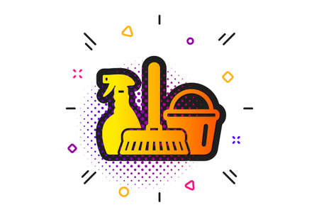 Spray, bucket and mop symbol. Halftone circles pattern. Cleaning service icon. Housekeeping equipment sign. Classic flat household service icon. Vector