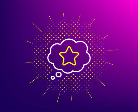 Loyalty star line icon. Halftone pattern. Bonus points. Discount program symbol. Gradient background. Loyalty star line icon. Yellow halftone pattern. Vector 向量圖像