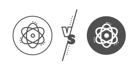 Energy sign. Versus concept. Atom line icon. Chemical element symbol. Line vs classic atom icon. Vector Standard-Bild - 130622666