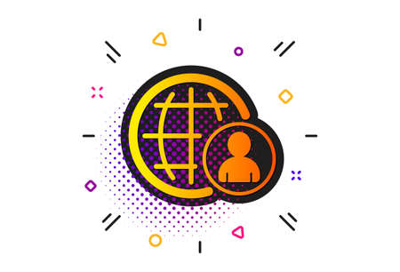 Global human resources sign. Halftone circles pattern. International business recruitment icon. Classic flat international recruitment icon. Vector Illustration