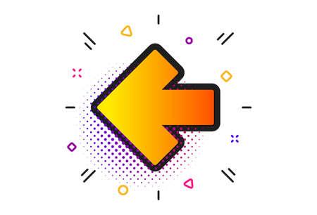 Direction Arrowhead symbol. Halftone circles pattern. Left arrow icon. Navigation pointer sign. Classic flat left arrow icon. Vector Иллюстрация