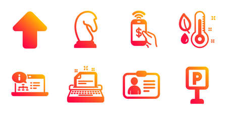 Upload, Thermometer and Phone payment line icons set. Online documentation, Id card and Typewriter signs. Marketing strategy, Parking symbols. Load arrowhead, Grow plant. Business set. Vector