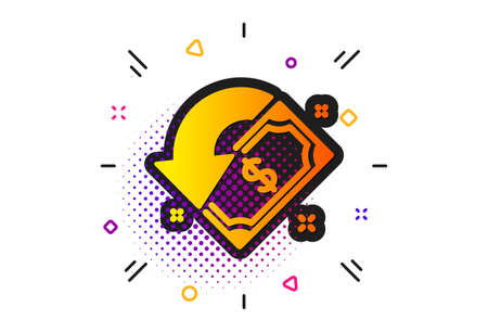 Send or receive money sign. Halftone circles pattern. Cashback icon. Classic flat cashback icon. Vector